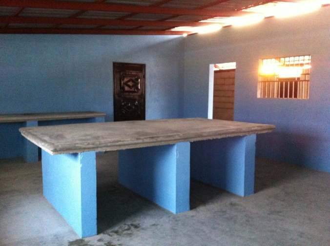 a beautiful baby blue kitchen